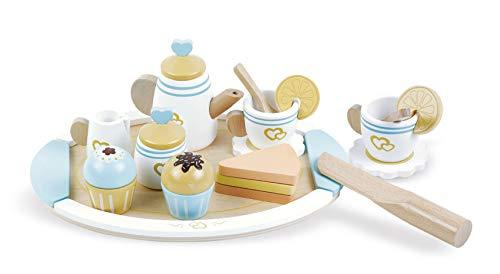 Leomark Tetera de Madera - Daisy - Serve Tea Set para niños, Juguete con Accesorios, Juego de Imitación