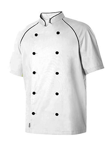 Chaquetilla Cocinero Hombre De Manga Corta con Botones A Contraste. Ropa Cocina/Hostelería. Color Blanco. Talla XXL. Ref: 4334