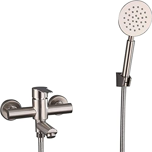 Bañera Cepillada Faucet Baño Mezclador Ducha Grifo Grifo Mezclador Bañera De Baño con Ducha De Mano Montaje De Pared De Acero Inoxidable para Baños,Plata