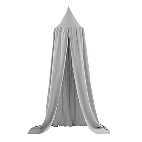 Kids Bed Canopy,Children Bed Canopyround Dome, Nursery Room Decorations, Cotton Net Bed Canopies Kids Play Tent for Baby (Color : Gray)