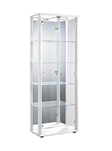 K-Möbel Glasvitrine in Weiss(176x67x33 cm) mit 4 höhenverstellbaren Glasböden aus ESG, LED, Schloss und Spiegel; beleuchtet; perfekt für Sammler;