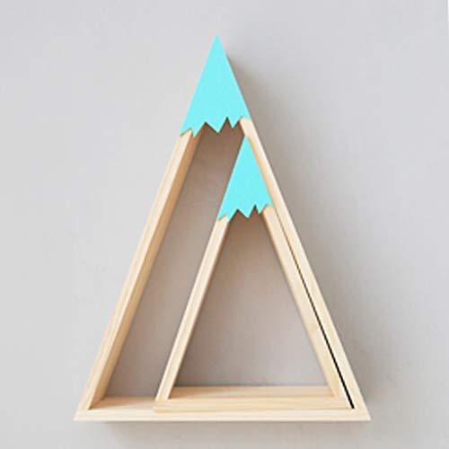 AFQHJ displaystandaard drijvende wandplank 2-delige set driehoek houten muur slaapkamer decoratie opslagplank robuuste achterkant metalen haken