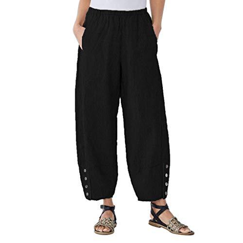 CCatyam Plus Size Pants for Women, Harem Trousers Linen Wide Leg Loose Beach Casual Fashion Black