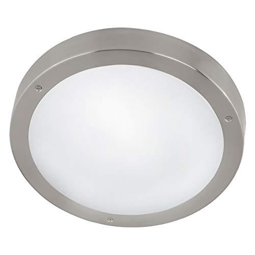 EGLO LED Außen-Deckenlampe Vento 1, 1 flammige Außenleuchte für Wand und Decke, Deckenleuchte aus Edelstahl und Glas, Farbe: Silber, weiß, IP44