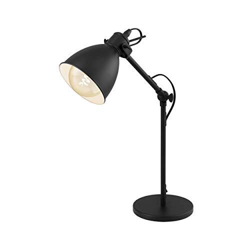 EGLO Tischlampe Priddy, 1 flammige Vintage Tischleuchte im Industrial Design, Retro Lampe, Nachttischlampe aus Stahl, Farbe: Schwarz, weiß, Fassung: E27, inkl. Schalter