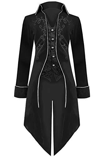Medieval Steampunk Tailcoat Halloween Costumes for Men, Renaissance Pirate Vampire Gothic Jackets Vintage Warlock Frock Coat (XL, Black)