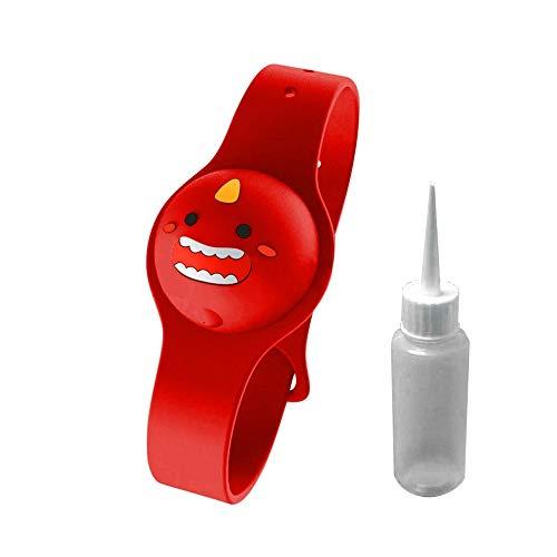 Bonita Pulsera De Silicona con Dispensador De Gel De Agua, Dispensador De LíQuido De JabóN Recargable Ajustable De 0,5 Oz / 15 Ml con Botella De Pico VacíA para NiñOs (Rojo)