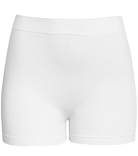 KMystic Women's Workout Seamless Biker Bermuda Boy Shorts, White, One Size