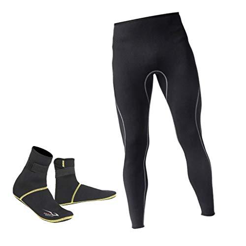 lahomia Pantalones de Buceo para Surf con Esnórquel Cálido de Neopreno para Hombre con Calcetines de Buceo