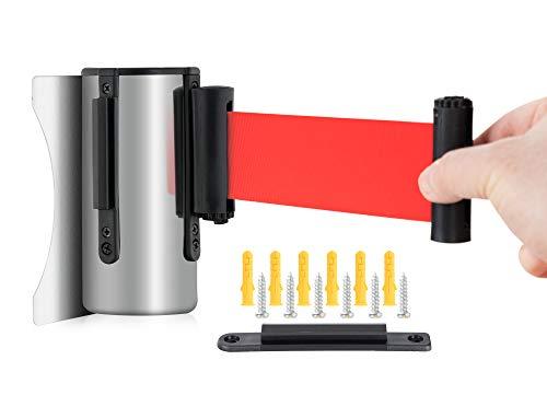 Stagecaptain PLSW-300 SR - Sistema de guía personal con cinta de seguridad para montaje en pared, correa roja de 3 m de longitud, para exposiciones, hoteles, cines, etc.