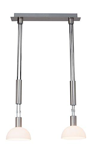 Brilliant Robinia Pendelleuchte, 2-flammig, höhenverstellbar, E14 LED, 2x 4,5 W, 340lm, 3000K, Metall Glas, eisen/chrom G74471/77