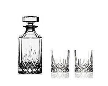 Juego de decantador de whisky de 75 cl y 2 vasos de estilo antiguo, cristal, estilo italiano