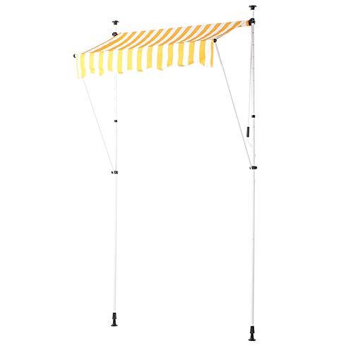 Estink - Toldo con brazo articulado (3,5 x 1,2 m, altura ajustable, con manivela, protección solar y resistente al agua, para balcón o jardín (rayas amarillas y blancas)