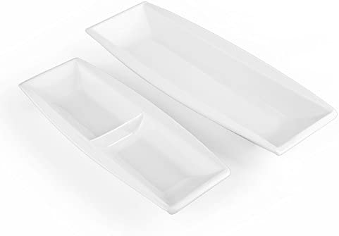 MALACASA Series Blance 2delige set porseleinen vierkante serveerschaal plat bord dinerbord 122510 inch