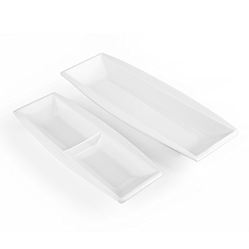 MALACASA, Serie Blance, 2 teilig Set Porzellan Eckig Servierplatte Flacher Teller Speiseteller 12,25/10 Zoll