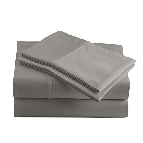 Peru Pima - 415 Thread Count Percale - 100% Peruvian Pima Cotton - Twin Bed Sheet Set, Ash Grey