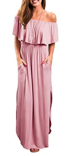 Womens Off The Shoulder Ruffle Party Dresses Side Split Beach Maxi Dress Pink L