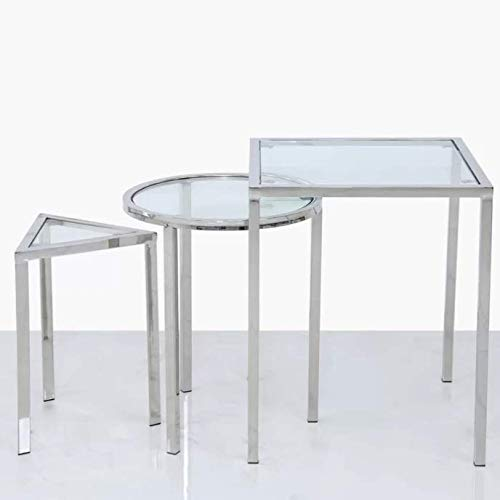 Cantrell 3-Shape Clear Glass Table Top Nest of Tables