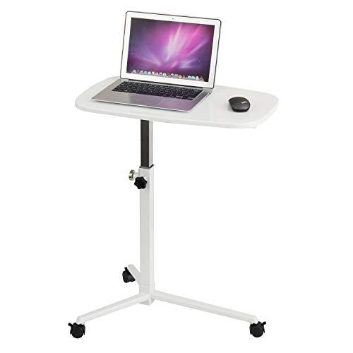 hjh OFFICE 674000 Laptoptisch Stand Weiß Kleiner Beistelltisch mit Rollen, höhenverstellbar