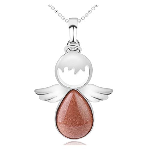 CZCDQA Angel Wings Necklace Natural Stone Quartz Crystal Angels Shape Pendant Water Drop Beads Lovely Jewelry For Women Gift (Metal color : Brown Sand)
