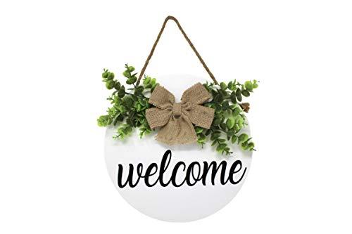 SmithFarmCo Welcome Wreaths for Front Door, Front Door Decor, Rustic Wooden Door Hanger, Welcome...