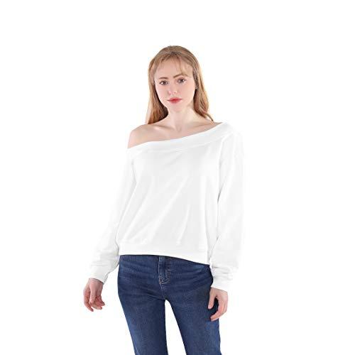Germinate Cropped Sudaderas de un Hombro Descubierto Mujer Casual Blanco Negro Fuera del Hombro Corto Jersey Sweatshirt Oversize (Blanco, s)
