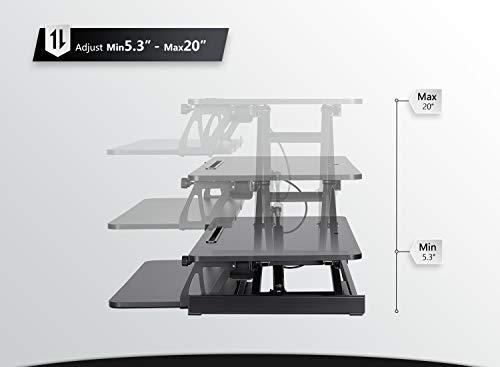 Standing Desk with Height Adjustable – FEZIBO 32 inches Stand Up Black Desk Converter, Ergonomic Tabletop Workstation Riser Black