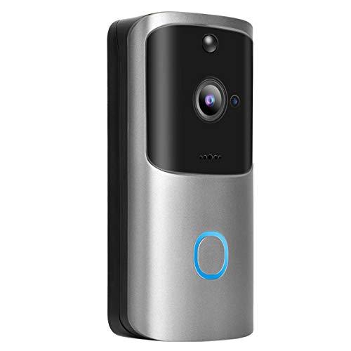 Timbre inalámbrico WIFI, Timbre inalámbrico con video WiFi Cámara WIFI Timbre, Videoportero inteligente Teléfono Intercomunicador Timbre timbre con video para Android/IOS Exterior