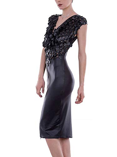 Patrice Catanzaro Wetlookkleid Sexy Dress schwarz Cocktail Kleid mit Ausschnitt, Farbe:Schwarz, Größe:S