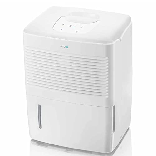 EcoAir Vebo Compact Dehumidifier | 10L/Day | Continuous Drainage | Touch Control Panel | 1.5L Water Tank | Laundry Drying | Mould Damp Condensation Control | 2 Year Warranty