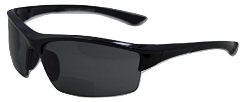 In Style Eyes Magnificent Maui Wrap Polarized Nearly Invisible Line Bifocal Sunglasses Black 2.00