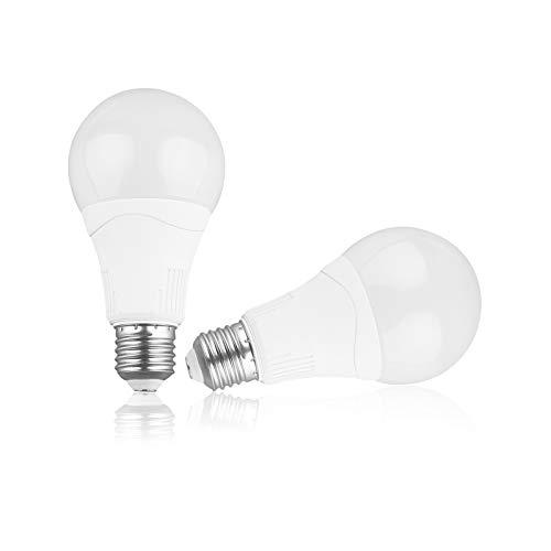 Bombilla LED con sensor de movimiento - Base E27 Blanco frío 5000K 15W (equivalente a 100W) 1500Lm Bombillas detectoras de sensor activado por movimiento Encendido/apagado automático, paquete de 2