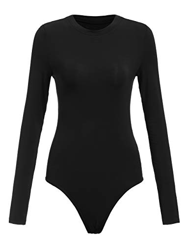 Floerns Women's Crew Neck Bodycon Leotard Top Long Sleeve Bodysuit Black M