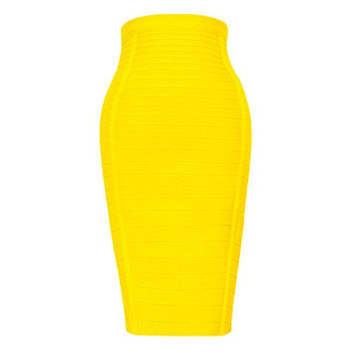 HLBandage Women's High Waist Elastic Rayon Bandage Pencil Skirt (XL, Yellow)