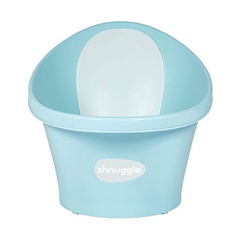Shnuggle - Bañera para bebé de hasta 12 meses con tapón en la parte inferior, azul agua con respaldo blanco, 1,2 kg