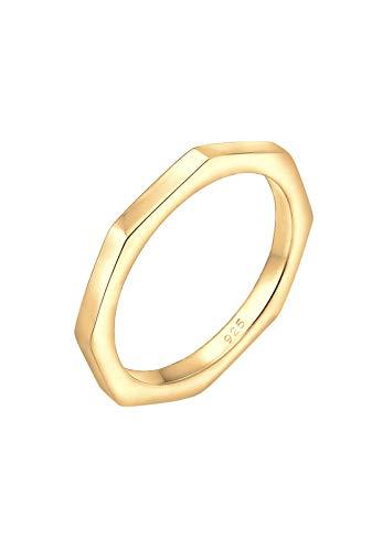 Elli Ring Damen Hexagon Geo Minimal Trend in 925 Sterling Silber