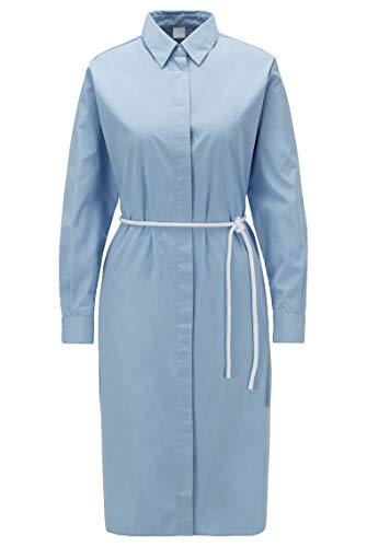 BOSS Damen Carusa Hemdblusenkleid aus Baumwoll-Popeline mit Kordelgürtel,Blau (Light/Pastel Blue 450),34