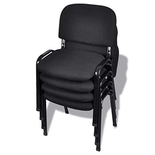 yorten 4 Stücke Stapelbare Bürostühle Stapelstuhl Konferenzstuhl Besucherstuhl Metallrahmen 54 x 59 x 78 cm Schwarz