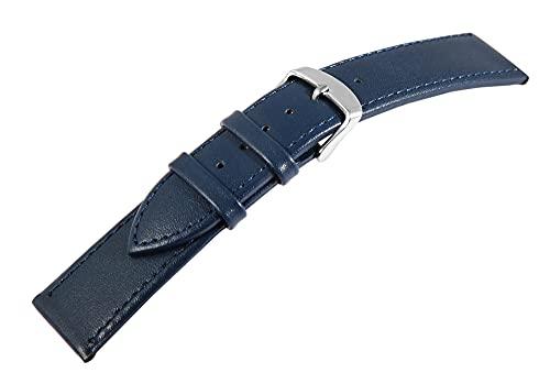 Correa de piel auténtica para relojes en color azul de 18 mm de ancho.