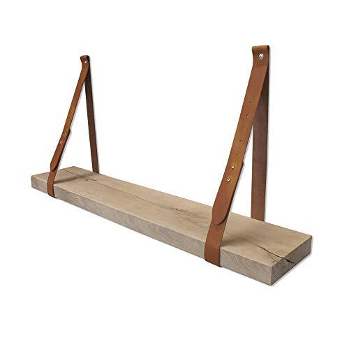 Steigerhoutpassie - Leren plankdrager - Verstelbaar - Cognac - Set - Eiken Rustiek - 100cm