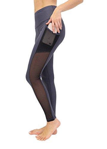 90 Degree By Reflex Women's High Waist Athletic Leggings with Smartphone Pocket - Gunmetal Cire Leggings - Medium