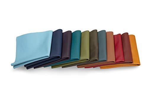 Lederstücke - Variierende Lederbündel in verschiedenen Bunttönen, Leder Zuschnitt, Extra Große Stücke, Hochwertig zum Nähen, Lederverarbeitung, Basteln, Beziehen, Deko, 1Kg - min. DIN A4