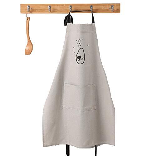 Lindong Süß Kartoon Schürze mit Tasche für Frauen Kinder Wasserdicht Baumwolle Leinen Küchenschürze Latzschürze Kochschürze Kinder Grau