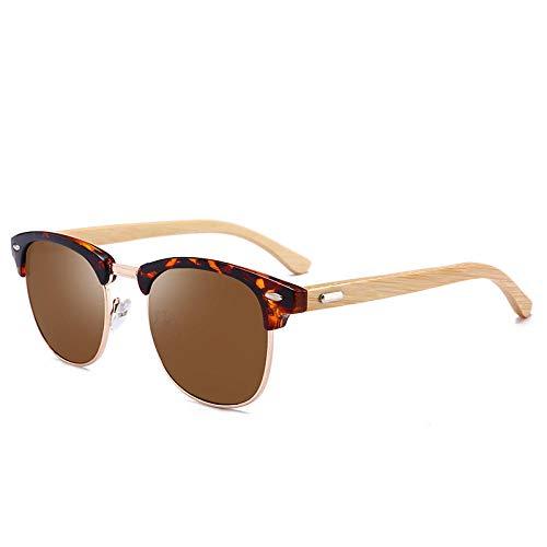ZYIZEE Gafas de Sol Gafas polarizadas Hombres Mujeres Madera Bambú Gafas de Sol Retro Club Gafas de Sol Redondas Conducción Medio Marco Eyewear-D