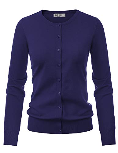 GRACE KARIN Long Sleeve Button Down Crew Neck Knit Cardigan Sweater for Women (L,Navy)