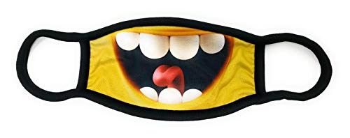 Dilara Maske mit Motiv aus Baumwolle in Schwarz mit Aufdruck - PREMIUM Mundbedeckung Lachender Mund (Lachender Smiley)