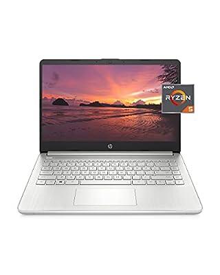HP 14 Laptop, AMD Ryzen 5 5500U, 8 GB RAM, 256 GB SSD Storage, 14-inch Full HD Display, Windows 10 Home, Thin & Portable, Micro-Edge & Anti-Glare Screen, Long Battery Life (14-fq1021nr, 2021) by Hewlett Packard