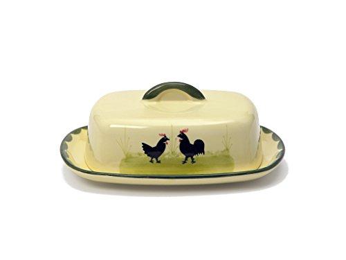 Zeller Keramik Hahn und Henne Butterdose mit Knauf 250g