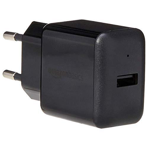 AmazonBasics – Cargador USB de pared de un puerto (2,4amperios), Negro