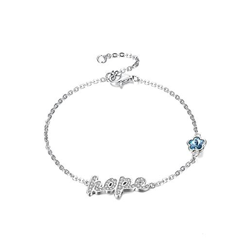 Joyas S925 Pulsera de Plata esterlina para Mujeres Crystal Lucky Charm Bracelet Girl Wedding Gift Romántico joyería Fina Pulsera de Moda AMINÍ